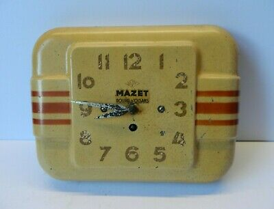 Vintage Enamel Wind-up French Clock Japy Mazet (Working with Key)