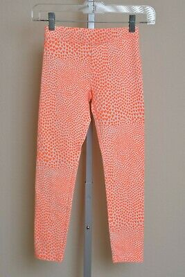 Crewcuts J. Crew Neon Orange Hearts Leggings Pants Youth Girls size 10 NWOT
