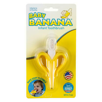GENUINE New Baby Banana safe Infant silicon teether newborn toothbrush training