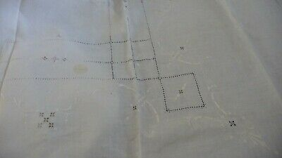 #1119C vtg 100''x72'' Tablecloth W 8 17''x16'' Napkins OFF WHITE EMBROIDER CUT