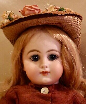 "16"" Antique C1880 Bisque Closed Mouth DEP Jumeau Bebe Doll"