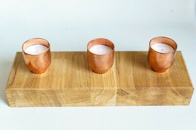 Solid oak 3 tealight Copper candle holder handmade beautiful Christmas candles