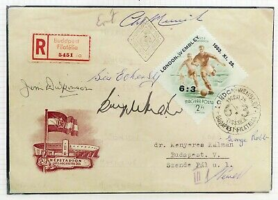 1953 England vs Hungary relic signed by Billy Wright, Merrick, Eckersley, etc.