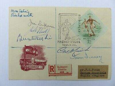 1954 Hungary vs England relic signed by Billy Wright, Merrick, Dickinson, etc.