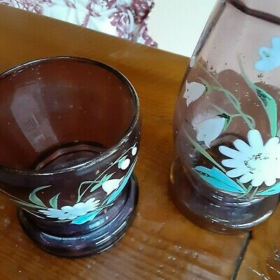 Antique Handblown and Enamel Painted Water Decanter with Matching Water Glass