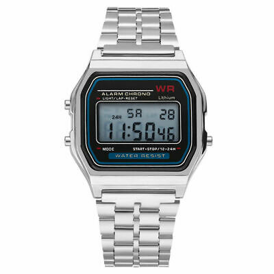 Casio Men's A158WA-1DF Stainless Steel Top Digital Watch Alarm Led Multifonction
