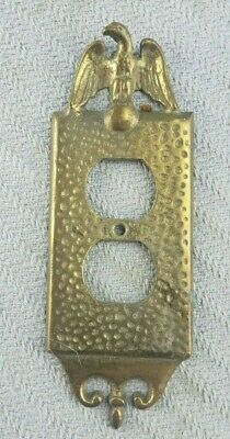 Vintage Brass Hammered Gold Tone Brass Eagle Single Wall Outlet Cover Plate Nice