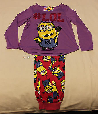 Despicable Me Minions Girls Purple Pink Cotton Flannel Pyjama Set Size 10 New