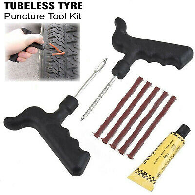 Motorcycle Tubeless Tyre Puncture Repair Kit Car Van Tire Emergency Tool Kit