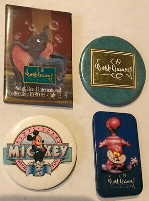 Disney Vintage Button Pins- 4 Different