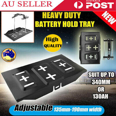 Adjustable Car Battery Tray Hold Down Clamp Bracket Kit Cycle Universal Metal AU