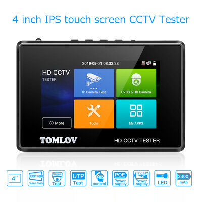 TOMLOV 6 in 1 HD CCTV Tester Camera PoE Power Out 4K H.265 Support TVI CVBS AHD