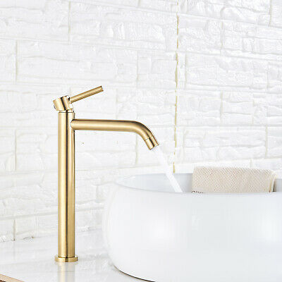 Bathroom Sink Faucet Basin Vessel Single Handle Mixer Tap Gold Brushed Tall Body