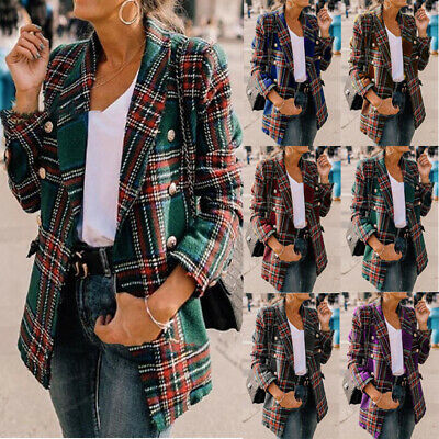 UK Women Plaid Check Blazer Suit Coat Lapel Tartan Ladies Formal OL Outwear Tops