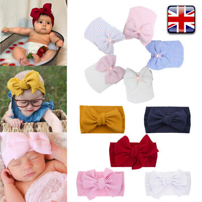 Adjustable Head Band Baby Newborn Infant Hat Big Bow Knot Hairband Soft Colorful