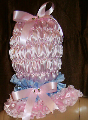 Prissy Sissy Maid Adult baby CD/TV Lockable Mincing Slave Hood & Padlock