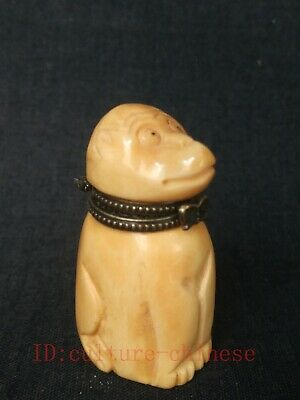 Collected Old China Tibet Hand-carved Lovely Monkey Snuff Box Statue Decoration
