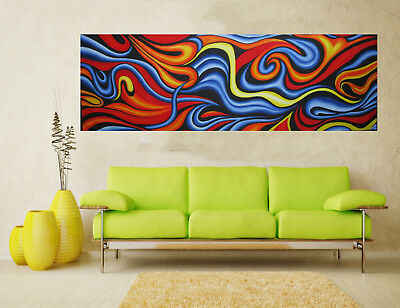 Australia Art Painting  abstract blue orange yellow 240cm x 85cm COA landscape