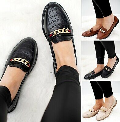 Ladies Womens Loafers Brogue Chain Slip On Work Office School Pumps Shoes Size