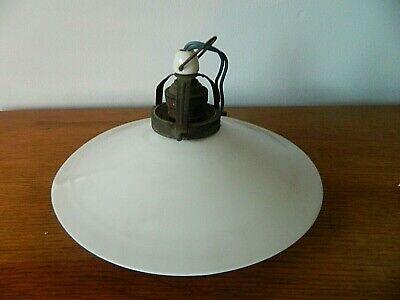 C 1930s French Coolie Pendant Lampshade  Opalescent White Glass with fitting # Q