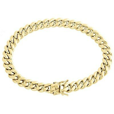 "10K Yellow Gold 9mm Hollow Miami Cuban Link Chain Bracelet 8"" 8 Inches Mens"