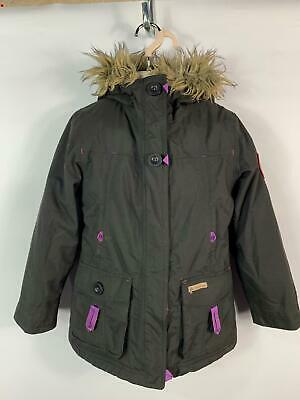 Girls Oxylane Black Casual Padded Winter Coat Jacket With Hood Kids Age 8 Years