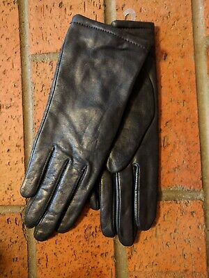 """NWOT~Womens~Blue~Navy Leather~Lined~Gloves~6.5~Fownes~9.5"""""""