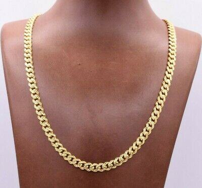 6mm Miami Cuban Royal Link Chain Necklace Diamond Cut Real 10K Yellow Gold