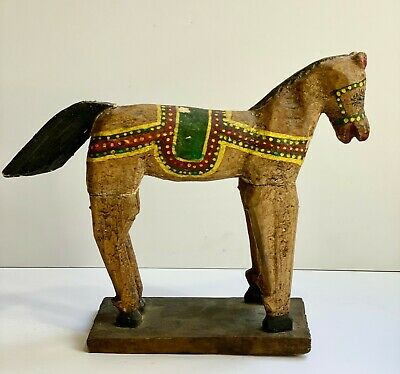 Antique Primitive Horse Folk Art Decor Farmhouse AAFA Wood Carved Toy Pony