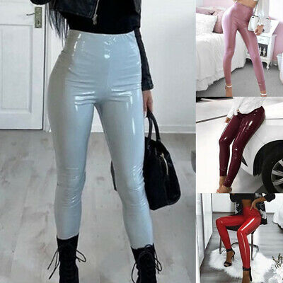 Lady's Trousers High Waist Skinny Leggings Pencil Wet Look Slim Leather PU.Pants