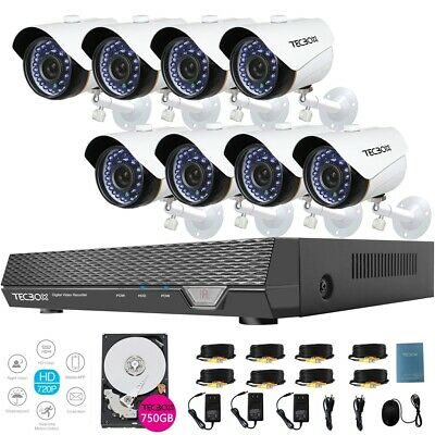 TecBox 8 Channel DVR Home Security Camera System 2.0MP 720P IP66 Indoor/Outdoor