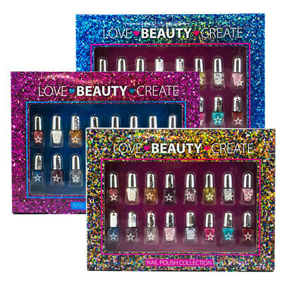 16 Piece Mini Nail Art Varnish Glossy Polish Girl Heaven Gift Set
