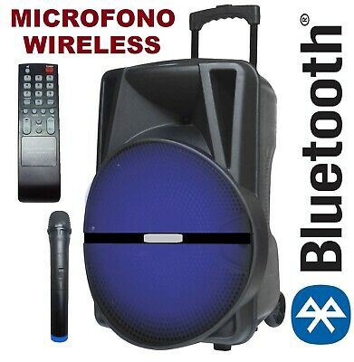 "CASSA ACUSTICA BLUETOOTH AMPLIFICATA BATTERIE 400w 12"" RICARICABILE USB SD LED"