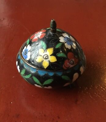 Antique/Vintage Chinese Floral Hand Painted Enamel Over Copper Box