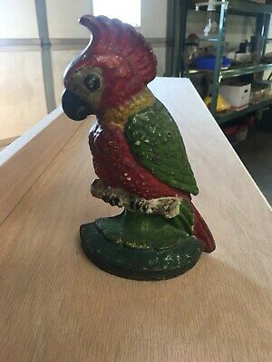 "ANTIQUE CAST IRON HUBLEY PARROT DOOR STOP w/ ORIGINAL PAINT  8"" tall"