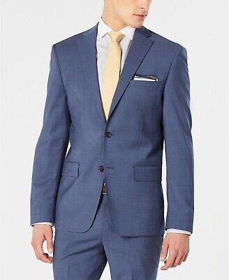 $450 Dkny Men's 38R Blue Check Modern Fit 2 Button Suit Jacket Blazer Sport Coat