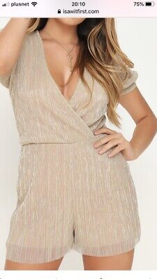 PRETTY LITTLE THING GOLD PLISSE RUCHED SHOULDER PLAYSUIT RRP £20