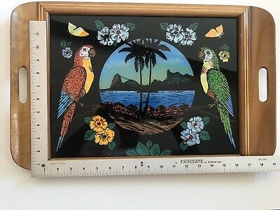 Antique Wood Inlaid BUTTERFLY WING Large Serving Tray 1920s-1930s Brazil