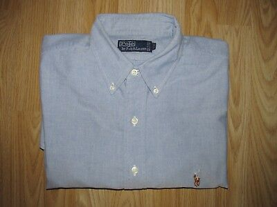 Mens POLO by RALPH LAUREN Blue Cotton Oxford Shirt Size 17 / 35 GREAT CONDITION!