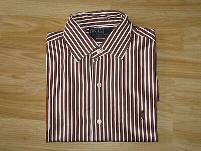 Mens POLO by RALPH LAUREN Custom Fit Brown Striped Shirt Top Sz S Small VGC