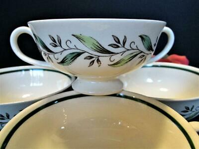 4 Royal Doulton Almond Willow D6373 Handled Cream Soup Bowls
