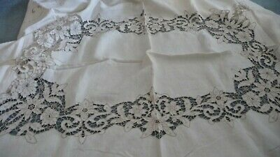 #1120R vtg 84''x70'' Tablecloth W 8 16''x17'' Napkins OPEN CUT EMBROIDED Maderia
