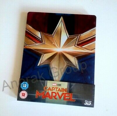 CAPTAIN MARVEL UK 1-Disc Blu Ray 2D Steel Book UK *3D NOT Included Brie Larson