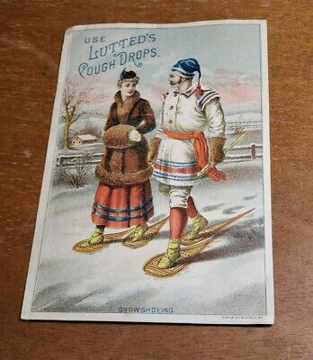 Antique Adv Trade Card pre 1900's 'Use Lutteds Cough Drops' Snowshoeing