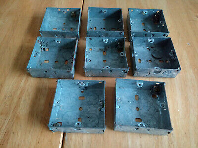 8 Metal Single Gang Back Boxes for wall sockets. Approx. 70 x 70 x 22 mm.