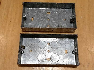 2 Metal Double Gang Back Boxes for wall sockets. Approx. 134 x 71 x 27 mm.