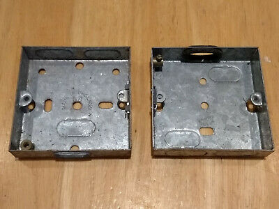 2 Metal Single Gang Back Boxes for wall sockets. Approx. 72 x 72 x 17 mm.