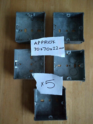 5 Metal Single Gang Back Boxes for wall sockets. Approx. 70 x 70 x 22 mm.
