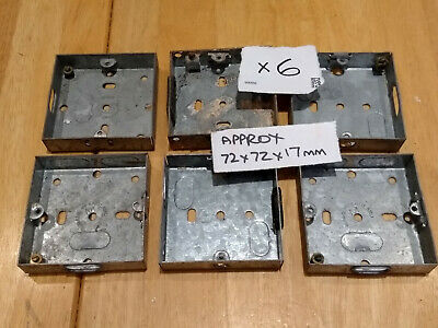 6 Metal Single Gang Back Boxes for wall sockets. Approx. 72 x 72 x 17 mm.