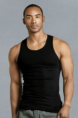 New 2 Pack Men's Solid Black Ribbed 100 % Cotton Undershirt Tank Top